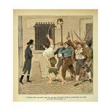 French Revolution. Bonaparte Encounters Mob Carrying Guillotined Head Giclee Print by Louis Bombled