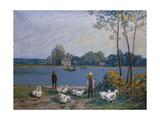 On the Banks of the Loing, 19th C Giclee Print by Alfred Sisley