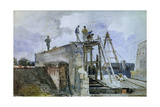 Construction of a House, View from Granet's Window at Institute. 1836 Giclee Print by Francois Marius Granet