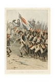 Bonaparte Encouraging His Soldiers in Battle, 'Au Drapeau' Giclee Print by Julien Le Blant