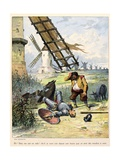 Don Quixote Fighting Against Windmills. 'Story of Don Quixote,' Illus. by Jules David. Giclee Print by Jules David