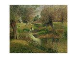The Trough in Eragny (Horse Drinking at Stream) Giclee Print by Camille Pissarro