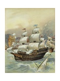 Fleet of Jean Ango Blocks the Tagus and Threatens Lisbon Giclee Print by Albert Robida