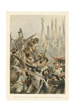 Broussier Division at the Battle of Wagram, 'Au Drapeau' Giclee Print by Julien Le Blant