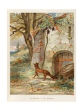 The Fox and the Grapes. 'Selected Fontaine's Fables', 1892 Giclee Print by Jules David
