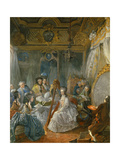 Marie Antoinette Playing Harp in Her Chamber at Versailles as Gautier D'Agoty Paints. 1777 Giclee Print by Jean Baptiste Andre Gautier d'Agoty