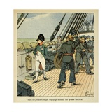 Napoleon Attracts the Sympathy of the Northumberland Crew Enroute to St. Helena Giclee Print by Louis Bombled