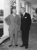 President Eisenhower with British Prime Minister Harold Macmillan on the West Wing Portico Photo