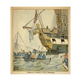 Bellerophon Arriving in Plymouth Harbor with Surrendered Napoleon 1815 Giclee Print by Louis Bombled