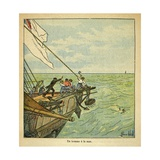 A Man Drowns During the Travel of Emperor Napoleon to Saint Helena Giclee Print by Louis Bombled
