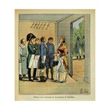 Gov. Hudson Lowe Questions the Servants of the Exiled Napoleon on St. Helena Giclee Print by Louis Bombled