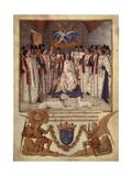 Louis XI Presides over Chapter of Ordre of Saint Michael, Order's Statutes. 1470 Giclee Print by Jean Fouquet