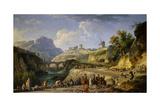 Construction of a Road, Built by Peasants Forced Labor or 'Corvee'. 1774 Giclée-Druck von Joseph Vernet