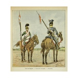 Napoleonic Wars, Chevau-Legers of the Guard: French and Polish Lancers Giclee Print by Louis Bombled