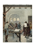 King Louis XI Promotes the Development of Printing at the Sorbonne Giclee Print by Jacques de Breville