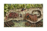 Battle of Ticonderoga, 1609, Defeat of Iroquois by French on Lake Champlain Giclee Print by Samuel de Champlain