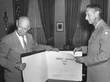 President Eisenhower with General Mark Clark Displaying the Korean War Armistice Agreement Photo