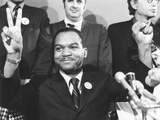 Rev. Walter Fauntroy Gave a 'V' for Victory Sign after Winning Washington, D.C. Democratic Primary Photo