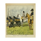 Napoleonic Wars, Emperor Napoleon Observes His Conscripts During a Battle Giclee Print by Louis Bombled