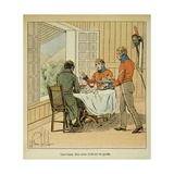 Napoleon Dining with Count Las Cases Attended by a Guard on St. Helena Giclee Print by Louis Bombled