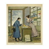 Emperor Napoleon in a Fabric Store of Rue Saint Denis in Paris Giclee Print by Louis Bombled