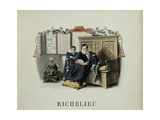 Richelieu's Mother Guides His First Readings Giclee Print by Maurice Leloir