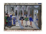 King St. Louis in St. Denis before Leaving for 7th Crusade, 1248 Giclee Print by Jean Fouquet