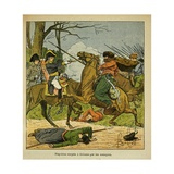 Napoleonic Wars, Napoleon Is Surprised by Cossacks in Brienne Giclee Print by Louis Bombled