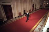 President George W. Bush Walks to the East Room for a Prime-Time News Conference, Oct. 11, 2001 Photo
