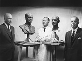 President Eisenhower and Former Governor Harold Stassen Next to their Portraits by Sculptor Tregor Photo