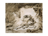 The Stable (Couple Embracing on Hay) Impression giclée par Jean Honore Fragonard