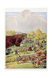 Gulliver's Travels, Gulliver Bows to the Lilliputian King and Queen Reproduction procédé giclée par Jacques de Breville