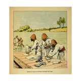 Madagascar War 1885-95, French African Regiment Washing their Clothes in a River Giclee Print by Louis Bombled