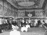 Inside a Richly Tapestried Tent, Iraq's King Faisal Meets with King Saud of Saudi Arabia Photo