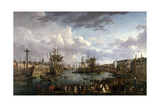 Harbor of Brest, Ca. 1770-99 Giclee Print by Jean Francois Hue