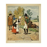 Napoleonic Wars, Emperor Napoleon in Conversation with Old Woman from Tarare, Elba Giclee Print by Louis Bombled