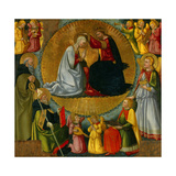 Coronation of Virgin, with Sts. Anthony and Augustine, Tobias and Angel Giclée-tryk af Neri Di Bicci
