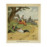Napoleonic Wars, Emperor Napoleon I Sleeping During the Battle Giclee Print by Louis Bombled