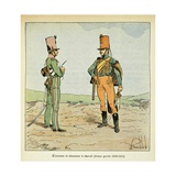Napoleonic Wars, French Army: Scout and Chasseur of the Young Guard, 1813-15 Giclee Print by Louis Bombled