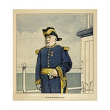 Madagascar War 1885-95, Portrait of the French Admiral Pierre Giclee Print by Louis Bombled
