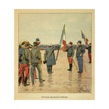 Madagascar War 1885-95, Felix Faure at Distribution of Flags to Departing Troops Giclee Print by Louis Bombled