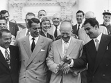 President Eisenhower with Baseball Great Joe Dimaggio, and Boxing Champion, Rocky Marciano Photo