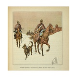 Franco-German War, Prussian Cavalrymen in Reconnaissance, with Dogs on Leash Giclee Print by Louis Bombled