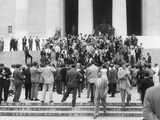 Premier Nikita Khrushchev Surrounded by Reporters on the Steps of the Lincoln Memorial Photo