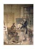 Cuvier Gathers Documents for His Work on the Fossil Bones Giclee Print by Theobald Chartran