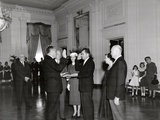 Sen. William Knowland Administers the Oath of Office to Vice President-Elect Richard Nixon Photo