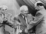 Soviet Premier Nikita Khrushchev Is Congratulated by East German Communist Leader Walter Ulbricht Photo