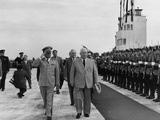 Nikita Khrushchev Walks with Josip Tito, Yugoslav Communist Leader in Belgrade, June 1955 Photo