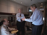 President George W. Bush with Ari Fleischer (Left) and Karl Rove on Air Force 1, Sept 11, 2001 Photo