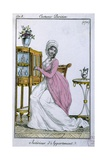 Fashion Plate of Parisian Women in an Apartment with Furniture. Ca. 1790 Giclee Print